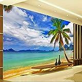 Mddjj Hd Bord De Mer Paysage Palm Beach Photo Murale Papier Peint 3D Salon Tv Canapé Chambre Fond Peinture Murale Autocollant Papel De Parede 3D-450X300Cm