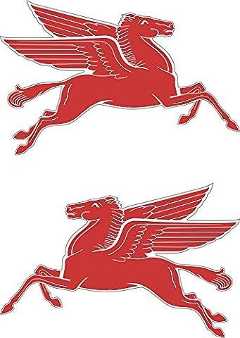 2x Stickers Mobil Pegasus en voiture de course vintage classique