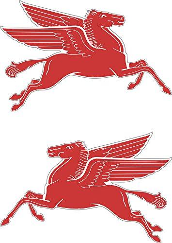 2 x Stickers Mobil Pegasus en voiture de course vintage classique