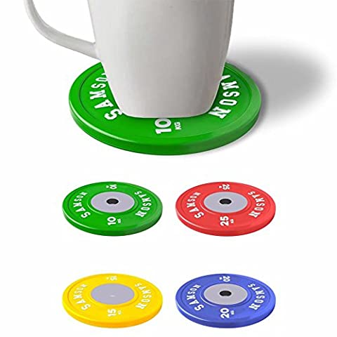 Olympic Gym Weight Plates Dumbbell Coaster Mug Cup Coasters Set of 4 Lifting Crossfit Fun Giftset