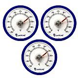 Lantelme 6296 Universal Thermometer 3 Stück Set - Mit Bimetall Federelement und Analoger Temperaturanzeige Kunststoff Farbe blau