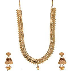 Ganapathy Gems 1 Gram Gold Plated South Indian Lakshmi Coin Long Necklace set for Women
