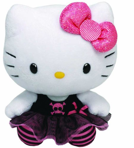 Hello Kitty - Peluche Punk, 28 cm, Color Negro (TY 90146TY)