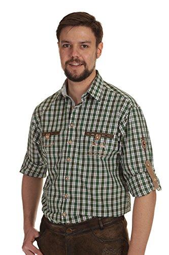 Orbis Herren Krempelarm Hemd Trachtenhemd Herren Hemd langarm kariert grün