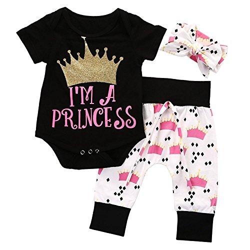 Neugeborenes Baby Mädchen Strampler Romper + Hose Gamaschen + Stirnband Outfits Set Kleidung Set