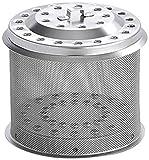 LotusGrill Edelstahl-Kohlebehälter Serie M 340, Silber, 13,8 x 13,6 x 12,4