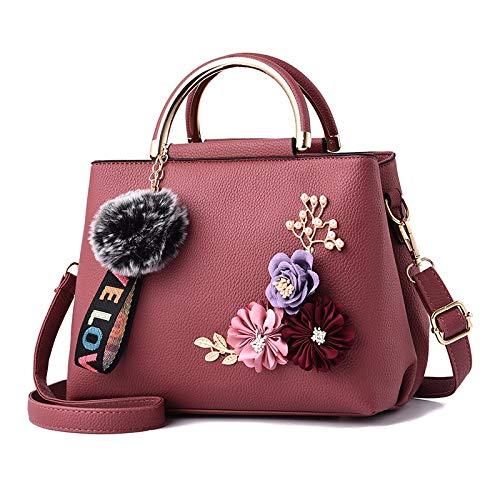 HHdstb Frauen Tasche Handtasche Frauen Umhängetasche Tote Blumen Shell Sac EIN Haupt Femme Nieten Ball Anhänger Damen - Blumen-zwei Tote Tasche