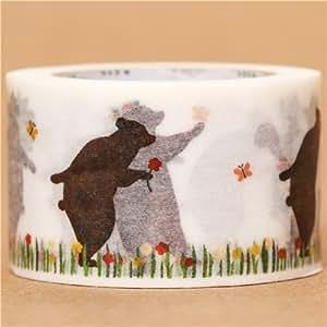 Nastro adesivo decorativo Washi orsi in primavera di mt