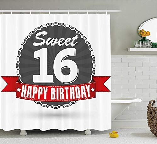 16th Birthday Decorations Shower Curtain, Little Cupcake with Candle Greeting Message Romantic Print, Fabric Bathroom Decor Set with Hooks, 60W X 72L Inche, Red Orange Blue