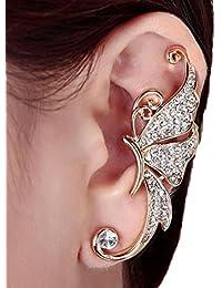 Yogogo Aux femmes Mode Mignon Ailes de papillon en cristal artificiel Clip d'oreille Boucle d'oreille Bijoux