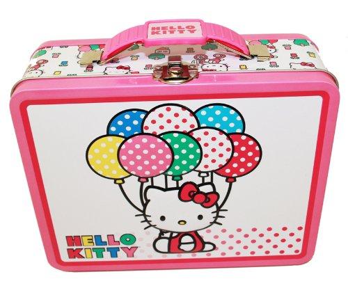 Dose Lunchbox-weiß w/Polka Dot Luftballons ()
