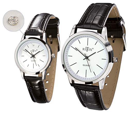 Uhren Set für Damen und Herren, Edelstahlboden, Damenuhr mit Swarovski Kristall