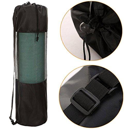 Gemini _ Mall® Tasche für Yoga-Matte, schwarze Tasche mit Nylon-Netzgeweben und verstellbarem Riemen für Pilates/Yoga Matte, waschbar.