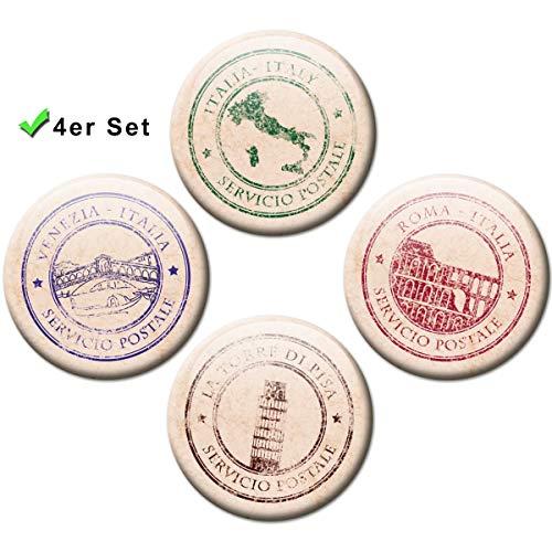 Kühlschrankmagnete Italien Postkarten Stempel 4er Geschenk Set Vintage Magnete für Magnettafel stark groß Ø 50 mm -