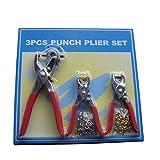 Juego de 3 alicates de perforación de cuero perforadora herramienta de reparación para cinturones de cuero papel manualidades rojo rosso