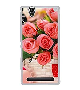 ifasho Designer Back Case Cover for Sony Xperia T2 Ultra :: Sony Xperia T2 Ultra Dual SIM D5322 :: Sony Xperia T2 Ultra XM50h (Gulab Basket Tie Knot Gulab Boutique)