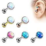 Piersando Tragus Piercing Helixpiercing Helix Ohr Cartilage Knorpel Stecker mit flachen Opal Steinen
