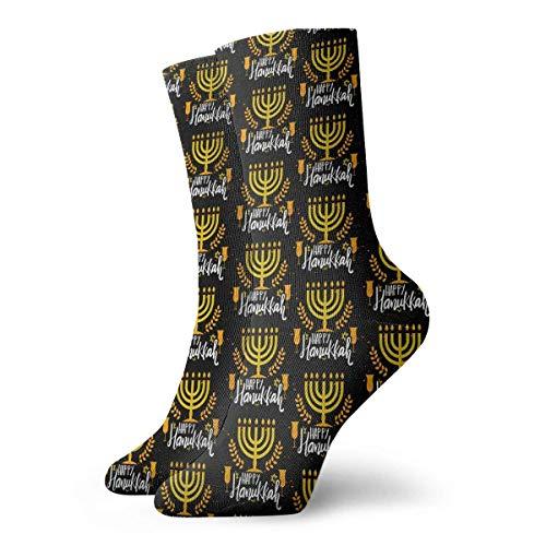 Estrange Happy Hanukkah Pattern Short Crew Socks Casual Athletic Sports Crew Tube Socks For Men&Women