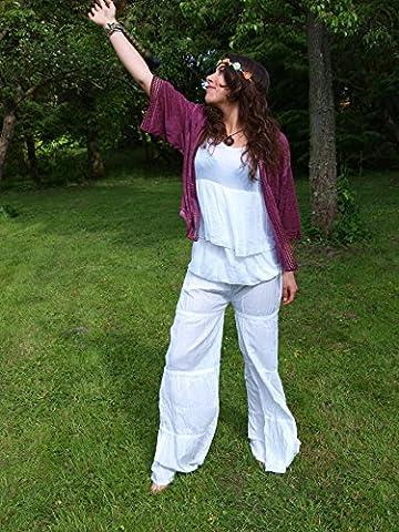 luftig leichte Schlag Hippie Hose von Moda Joven Woman im 70 er Jahre stil (Damenhose)