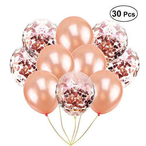 Toyvian 12 Zoll Rose Gold Konfetti Luftballons für Geburtstag Party Hochzeit Engagement Dekoration (20 Konfetti Ballons und 10 einfarbig Ballons) (Engagement Ballons Party)