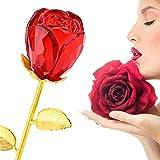 Rosen - Crystal Rosenknospe mit Gold 24K Stem - Beste Geschenk für Muttertag, Valentinstag, Muttertag, Jubiläum, Hochzeit, Geburtstagsgeschenk (rot)