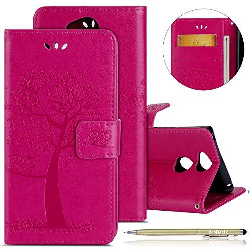 Herbests Handytasche für Sony Xperia XA2 Lederhülle Ledertasche Bookstyle Handy Schutzhülle Wallet Dünn Klapphülle Eule Baum Retro Handyhüllen Flip Case Cover Magnetverschluss,Hot Pink