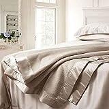 ElleSilk Plaid Decke aus Seide, Maulbeerseide Wohndecke, Natur-Seide Kuscheldecke, Hypoallergen, Cappuccino, Single Size (160 x 210cm)