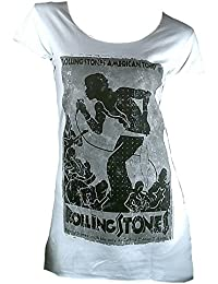 Amplified Mujer Lady – Camiseta Blanco Official Rolling Stones 72 Hyde Park Concert Flyer – Túnica tunik