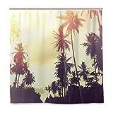 BALII Tropischen Dschungel Palme Duschvorhang 182,9x 182,9cm Polyester Wasserdicht mit 12Haken für Badezimmer