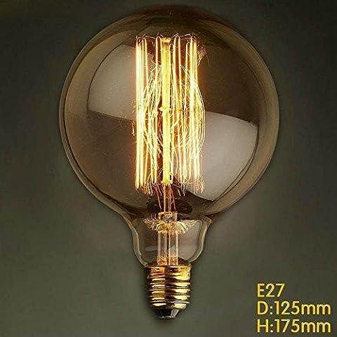 e27 40w,60w G125 gerader Draht große Birne Birne Edison Retro- dekorative Glühbirnen Nostalgie Industry Style Leuchtmittel … (60)