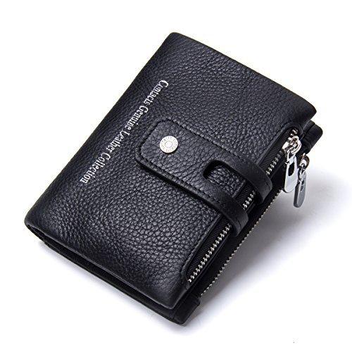 (Contacts Herren Echtes Leder-Bifold Wallet Doppelreißverschlusstasche Geldbörse (Schwarz))