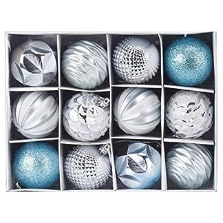 Adoraland Bolas Arbol de Navidad Adornos Navidenos Decoracion 12 Bola Plastico 6cm Plata/Azul