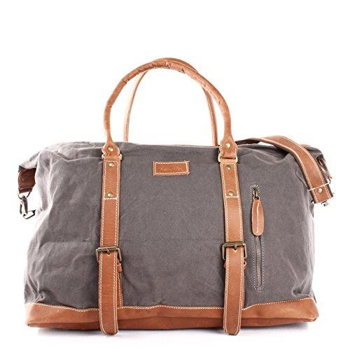 LECONI Weekender groß Canvas + Echt-Leder Retro Reisetasche Unisex Damen + Herren Sporttasche Reise Handgepäck 60x38x25cm grau LE2010-C