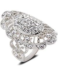 Yazilind éblouissant tour Cut zircon alliage plaqué or blanc 51,5 56,5 59 grand anneau femmes