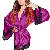 Kimono Yazidan Frau Seide Dressing Puppe Spitze Sexy Unterwäsche Bademantel Nachtwäsche Tiefer V-Ausschnitt Kleid Seidig Satin Chemise Nighties Elegant Einfarbig Schlaf-Kleid Übergröße(Lila,XL)