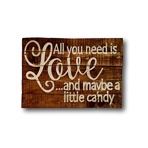 Plaque Sign All You Need Is Love Hochzeit Schild Candy Bar Schild Holz Candy