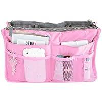 Hee Grand Women's Handbag Organiser Liner Tidy Travel Cosmetic Pocket Insert 12 Pockets Large Pink