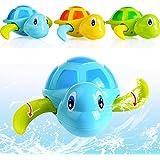 [Patrocinado]3pcs Juguetes Juegos Infantiles Tortuga Flotante Baño de Plástico para Bebes Niños,Color (Al azar)