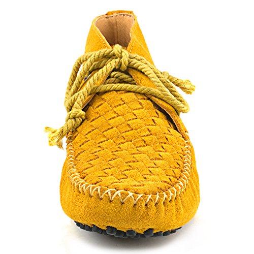ShenDuo Damen Mokassins Stiefel Leder Schuhe mit Schnürsenkel Casual Slipper D7258 Gelb