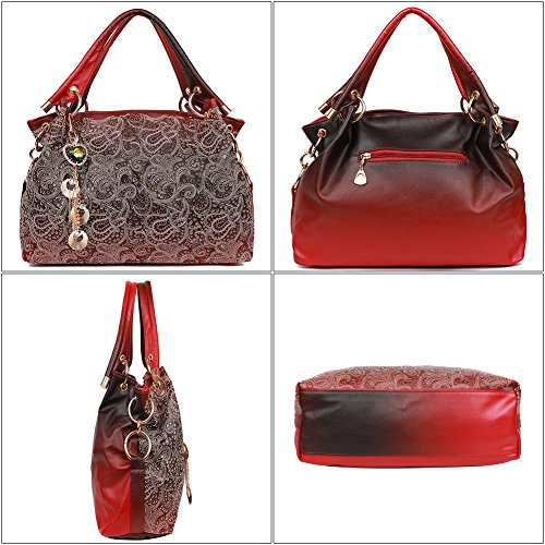 EGOGO Damen Handtasche Leder Henkeltasche Hollow Tote Tasche Für Fraun Schultertasche E522-1 Rot