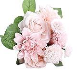 Elecenty Künstliche Blumen Unechte Blumen,Rose Blumen Künstliche Deko Blumen Gefälschte Blumen Hochzeits Blumenstrauß Kunstpflanze Kunstblumen Hochzeit Bouquet Party Dekoration (30 cm, Rosa)