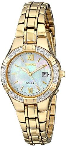 Seiko Damen Datum klassisch Solar Uhr mit Edelstahl Armband SUT070P9 - Seiko Damen Uhr Solar