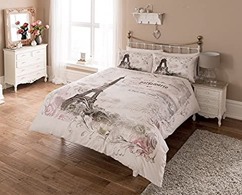 LUXURY PARIS EIFFEL TOWER FLORAL FLOWERS ROSES CALLIGRAPHY SCRIPT REVERSIBLE DUVET SET QUILT COVER BEDDING (King Size) by Pieridae