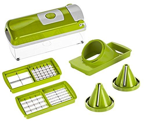 Genius - Nicer Dicer Plus Kompakt grün 7 Teilig mit Julietti, Gemüseschneider