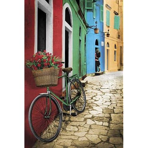 Empire Merchandising - Poster, motivo: bici con cestino di fiori, con accessori per il montaggio Avec 2 baguettes