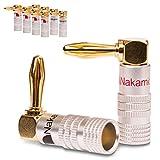NAUC 10x High End Nakamichi Bananenstecker Vergoldet Winkel Bananas Banana 24K b 6mm²