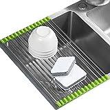 Küchenteller Trocknung Abtropfgestell Colander Roll-up faltbarer Edelstahl Abtropfgitter Abtropfständer über Spüle Obst und Gemüse(Grün)