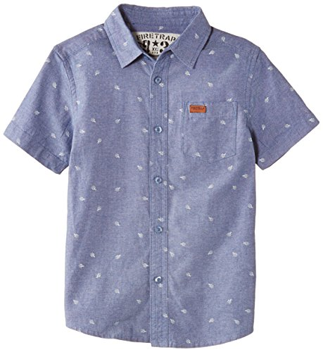 Firetrap Boys Chambray Polka Dot Short Sleeve Shirt, Blue (Chambray), 12-13 Years