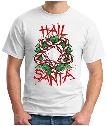 OM3 - HAIL-SANTA - T-Shirt BLOOD SANTA CLAUS SATAN BLACK METAL 666 PENTAGRAM FUCKING XMAS GEEK, S - 5XL Weiß