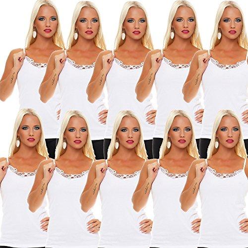 10er Pack Damen Unterhemd mit Spitze 428